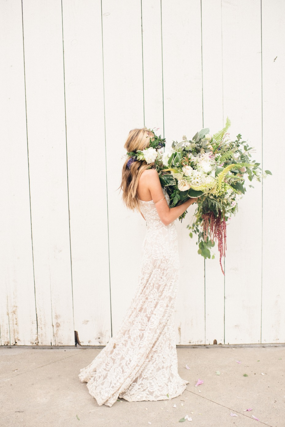 big bridal wedding bouquet paired with a Grace Loves Lace wedding dress