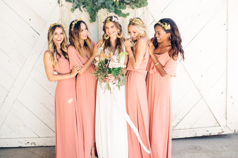 Boho Chic Bride In Grace Loves Lace Wedding Dress Paired With Show Me Your Mumu Bridesmaid