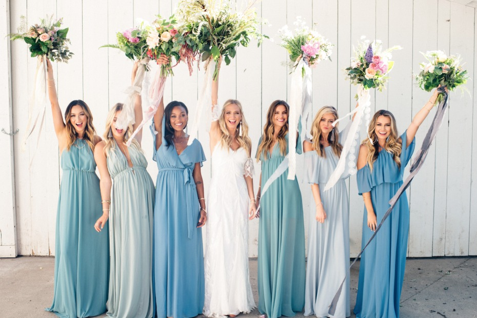 bridesmaid in blue bridesmaid dresses from Show Me Your Mumu