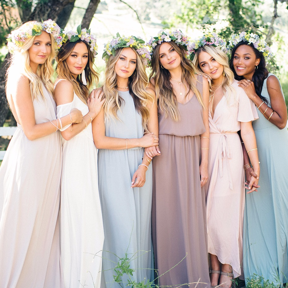 Muted Pastel Tones On Bridesmaid Dresses From Show Me Your Mumu