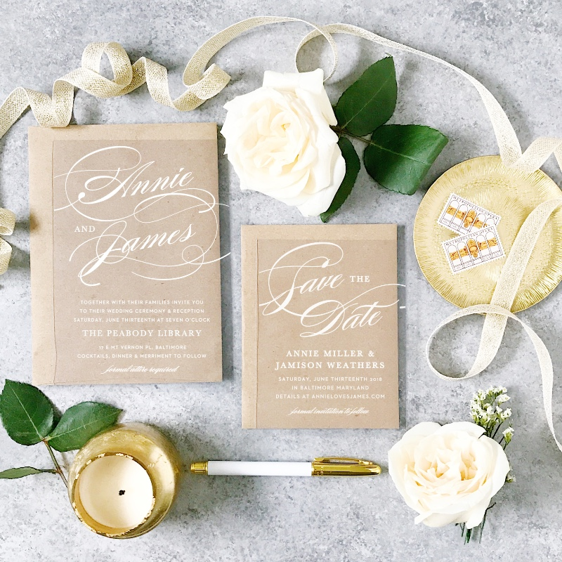 Loving this styled look featuring clear wedding invitations and a kraft envelope.