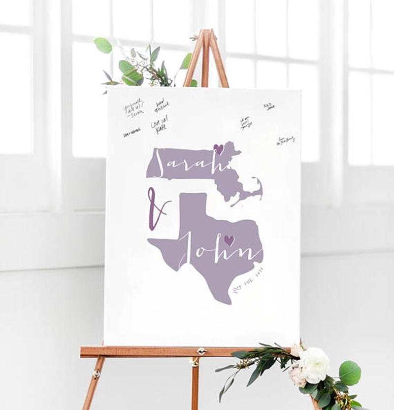 Miss Design Berry's two states (or countries) guest book alternative captures the love and well wishes of your wedding guests in a