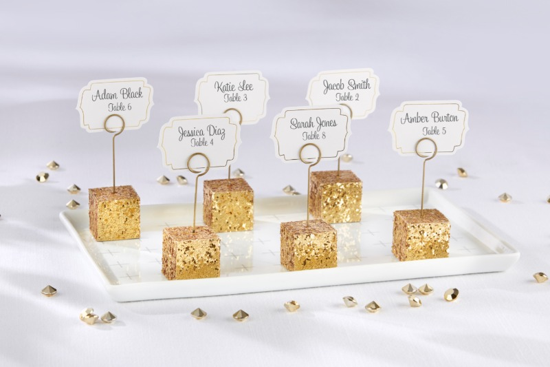 These sparkling place card holders don't just make gorgeous wedding pieces, but they can be worked into any event that could use a
