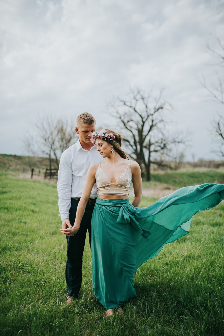 Green skirt blowing in the wind
