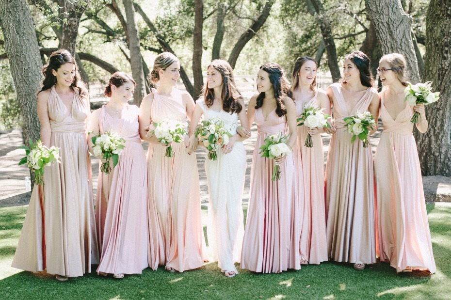 blush and gold bridesmaids