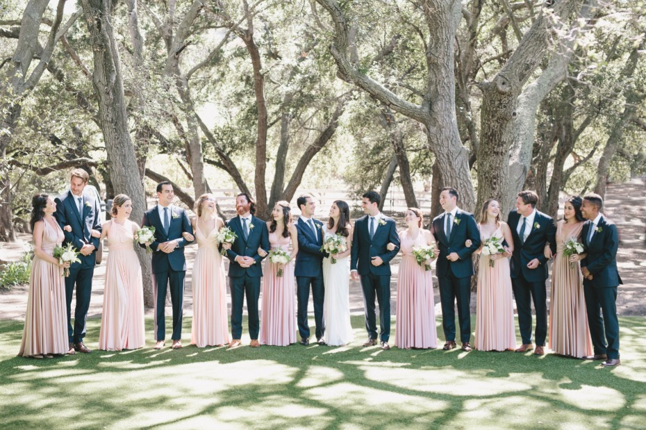 blush and navy wedding party
