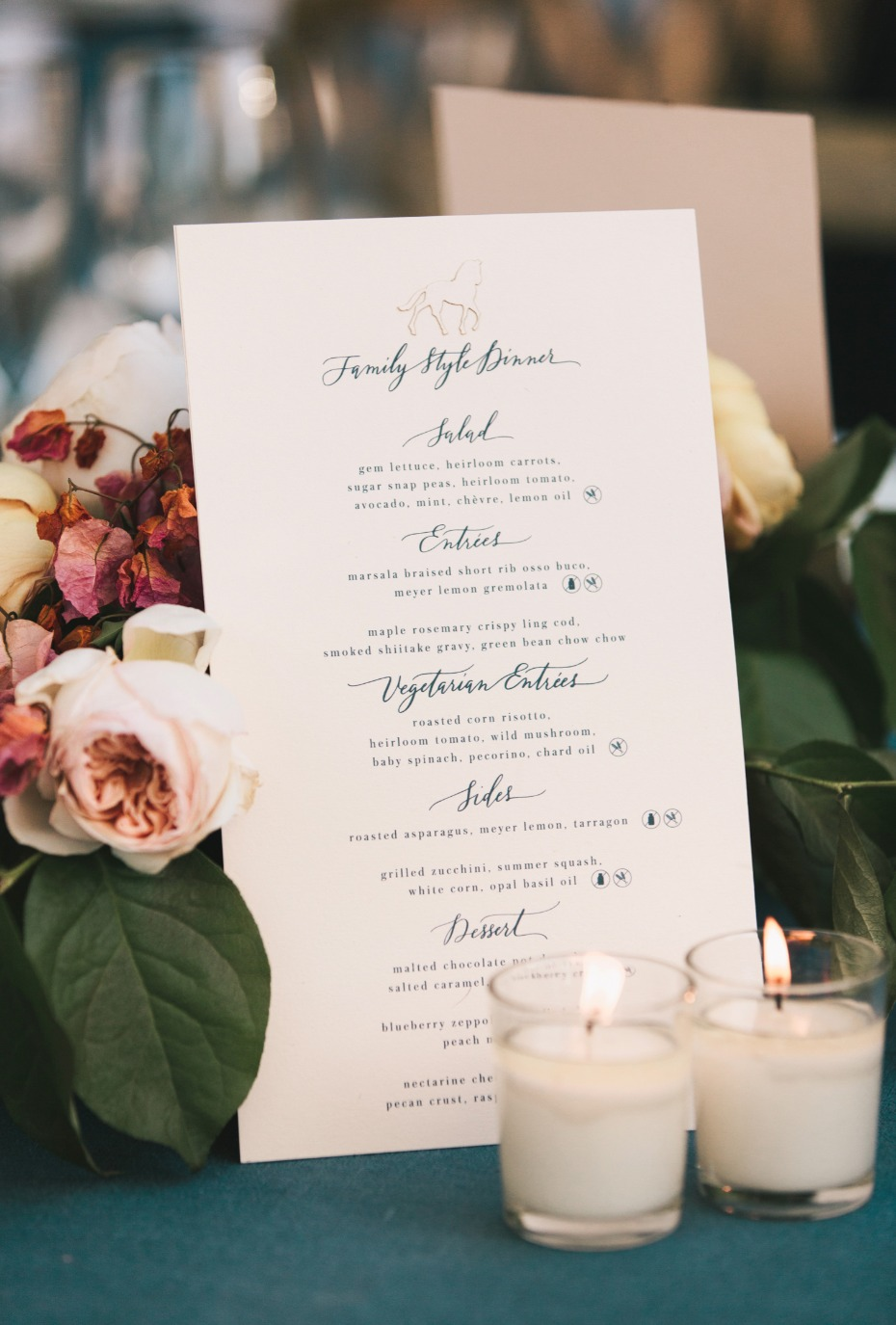 elegant and chic wedding menu