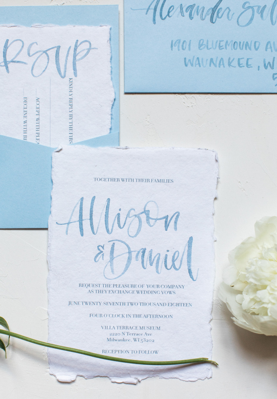 blue and white watercolor wedding invitation