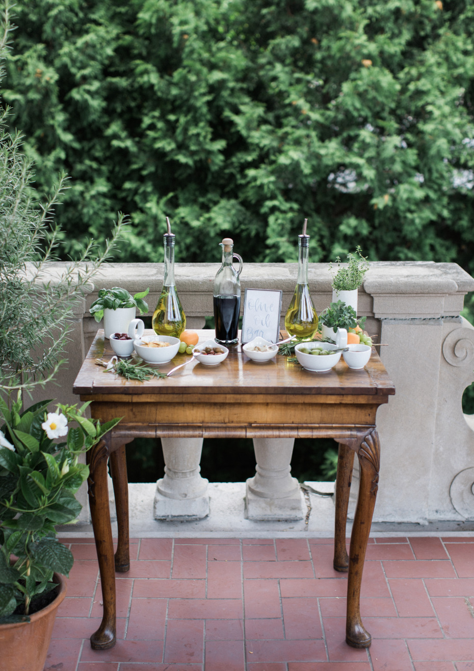 olive oil bar for guests at the wedding