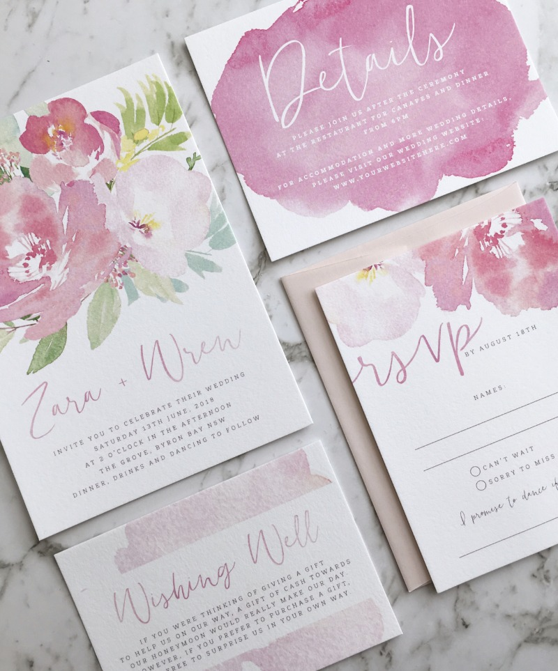 🌸 Pretty in pink! Floral watercolor wedding suite by Paper Minx Designs