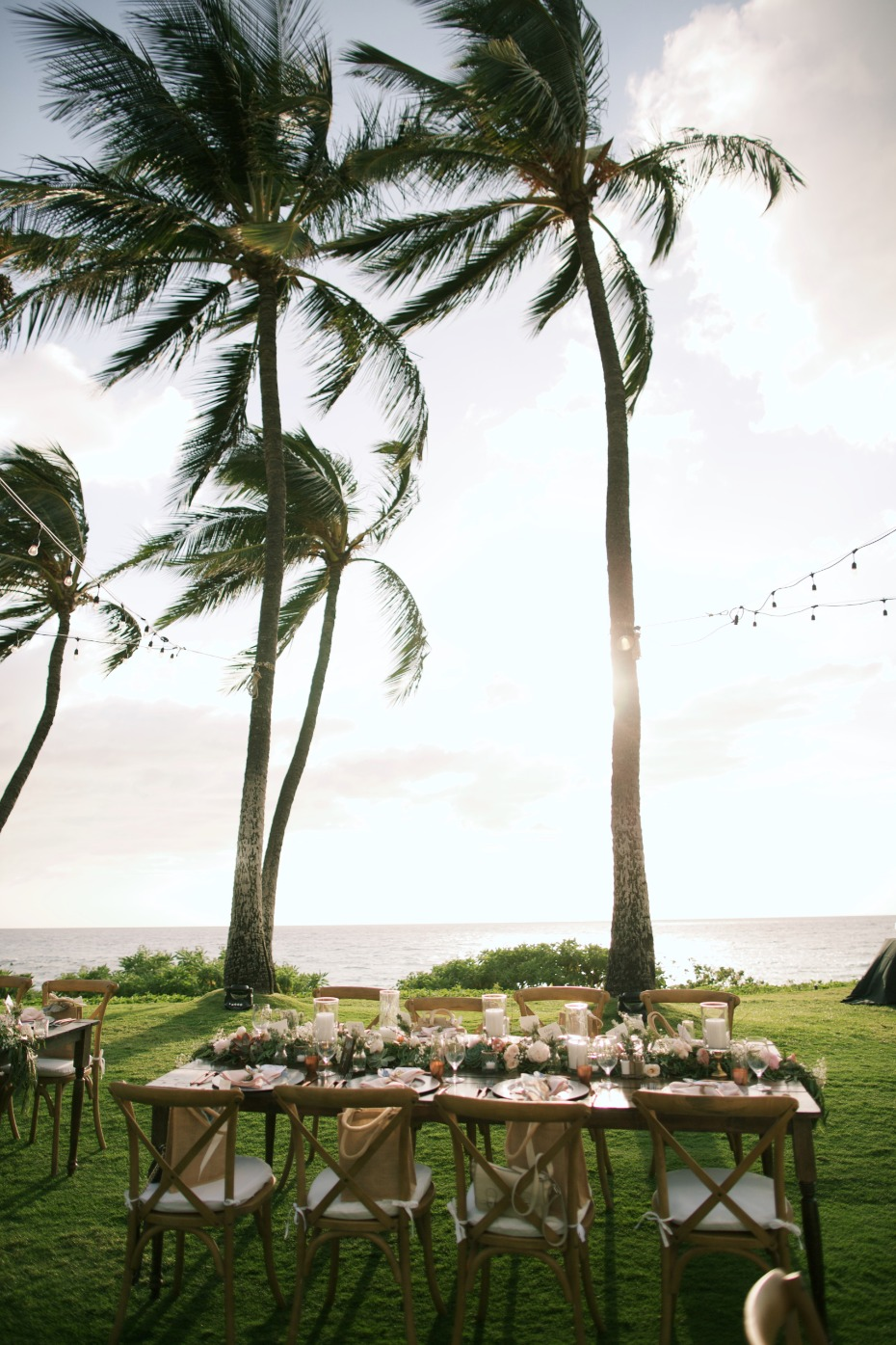 Beautiful reception where the palm trees sway