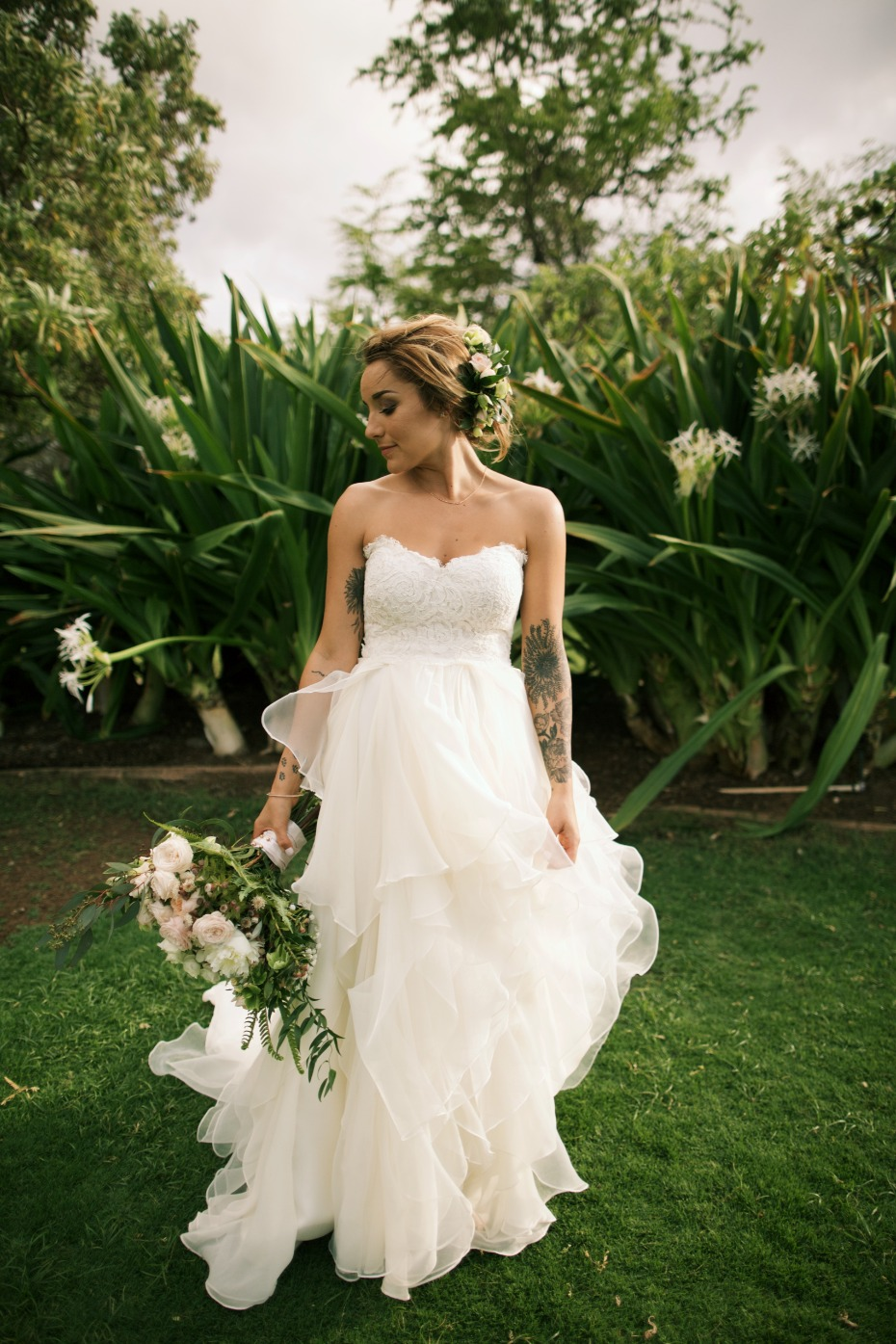 Flowing ruffle wedding dress from Hayley Paige