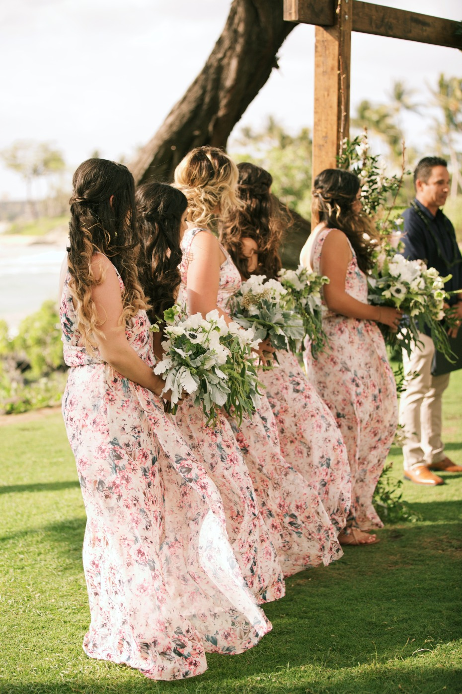 Flowing floral bridesmaid dresses