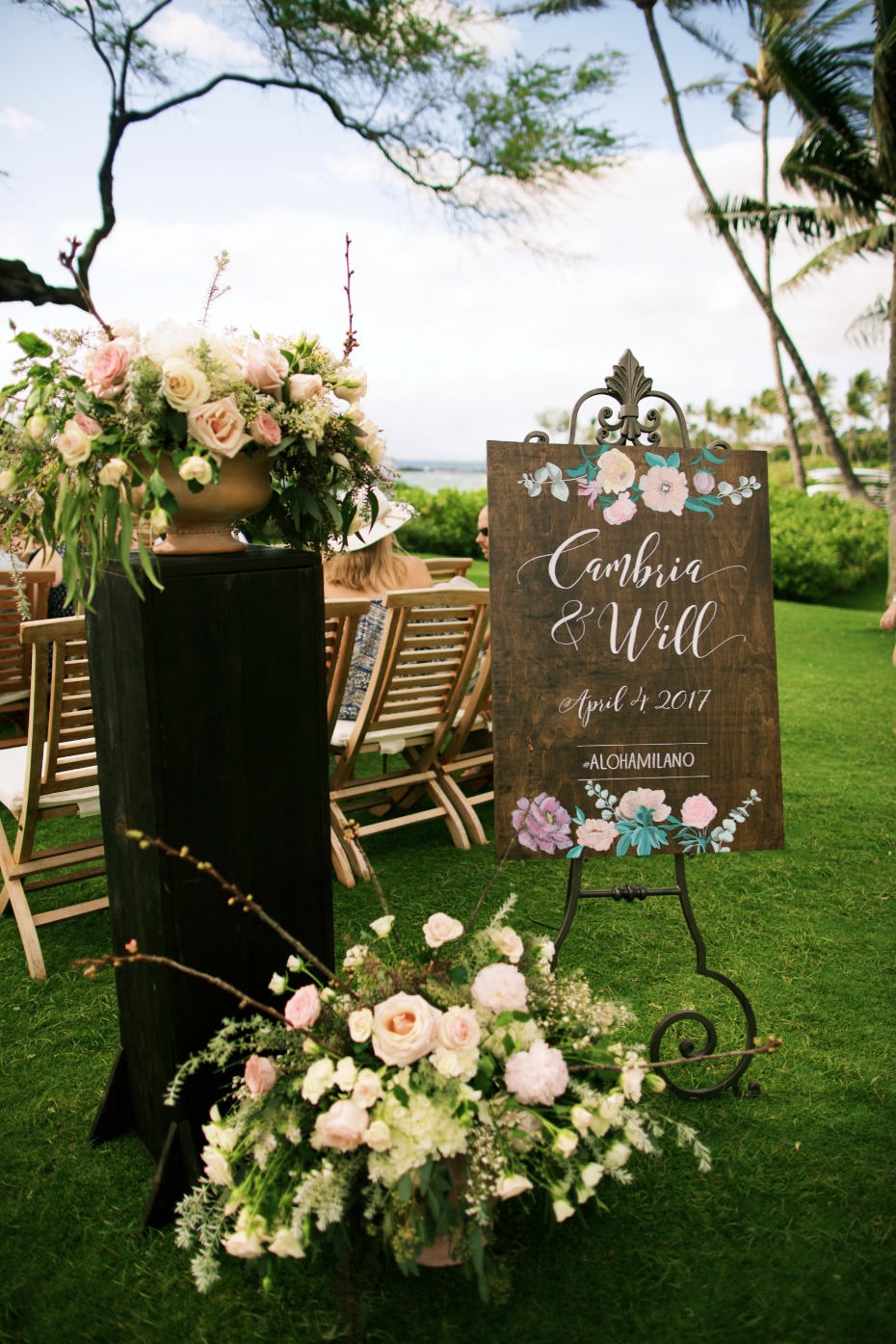Beautiful wood wedding sign with florals
