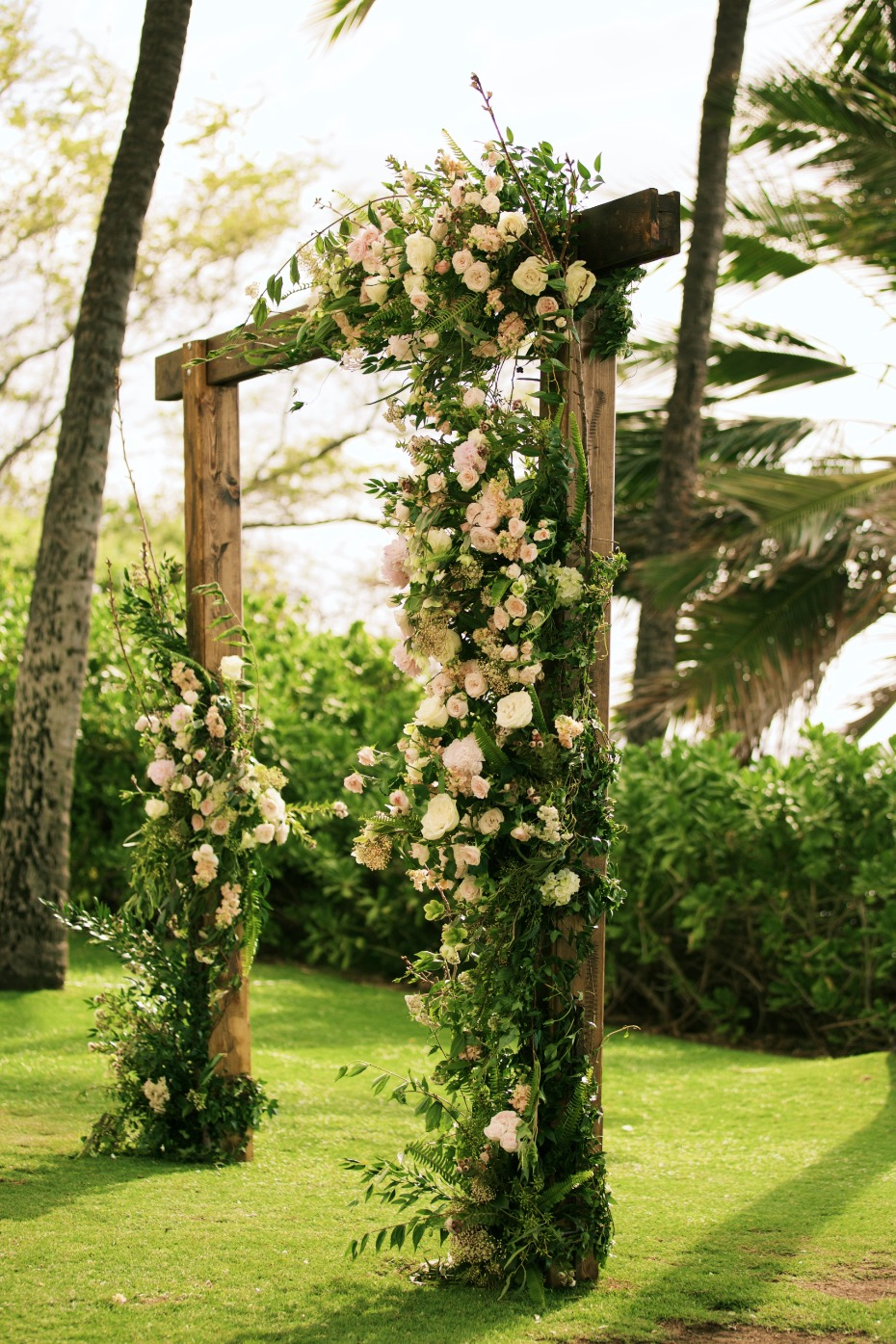 Wood and floral ceremony arch