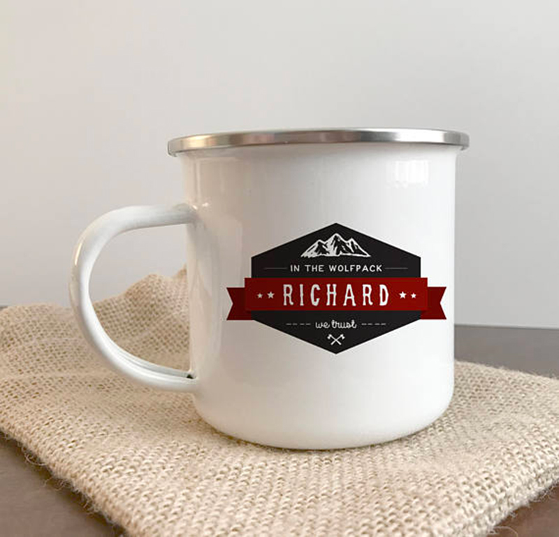 Miss Design Berry's custom tin and enamel mug groomsman gift features the groomsman's name and reads In The Wolfpack we Trust. You