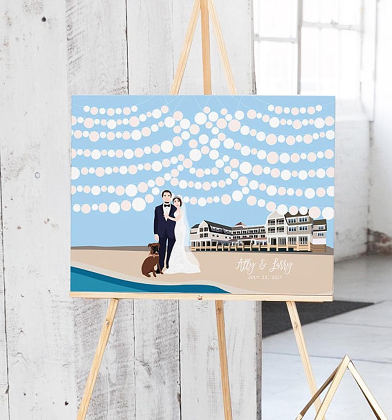Miss Design Berry's Wedding Guest Book with Custom Couple Portrait and Venue Illustration features a custom illustration of the couple