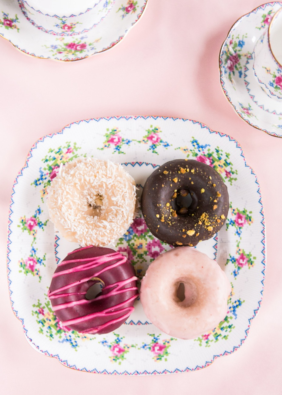 Donuts on a vintage dish