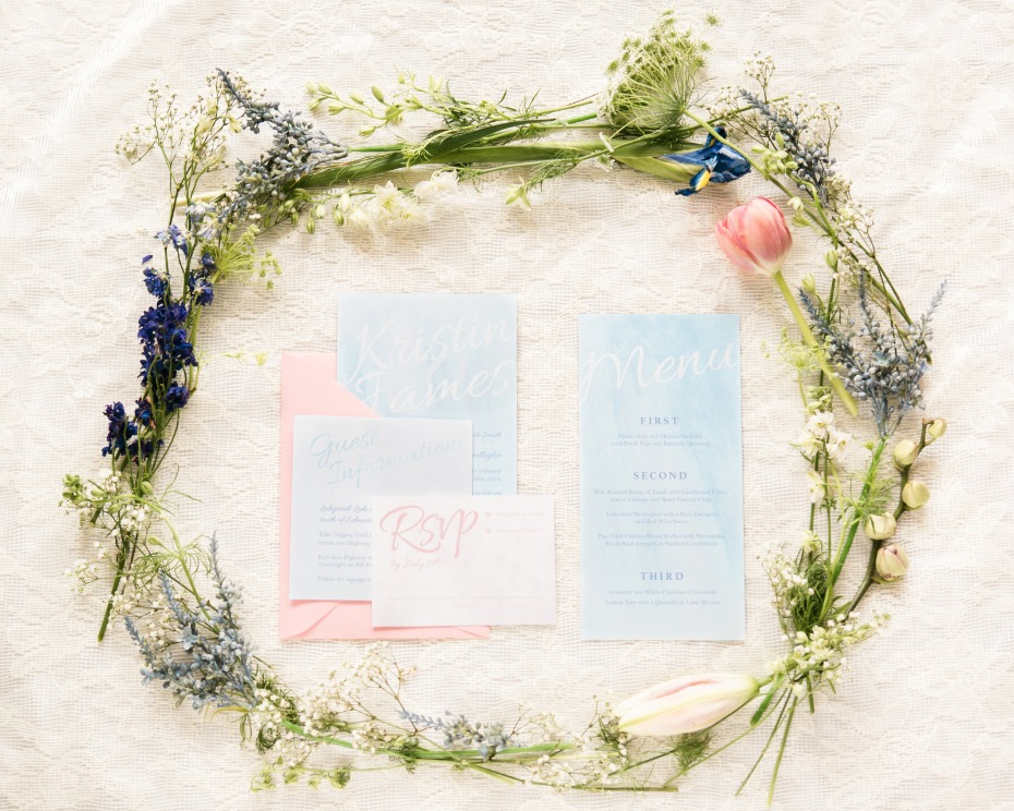 Blue water color invites