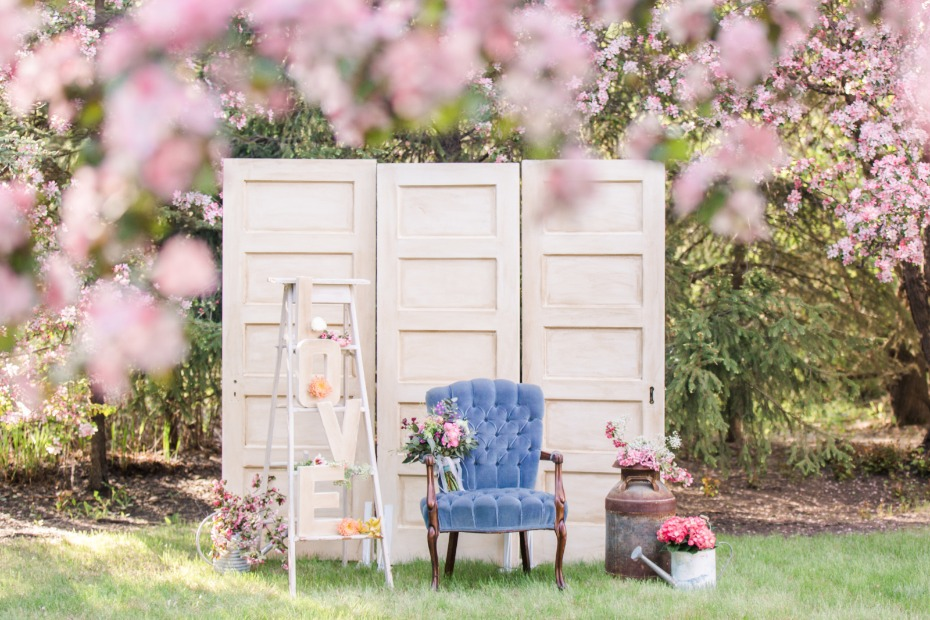 Cute vintage photo booth under the cherry blossoms