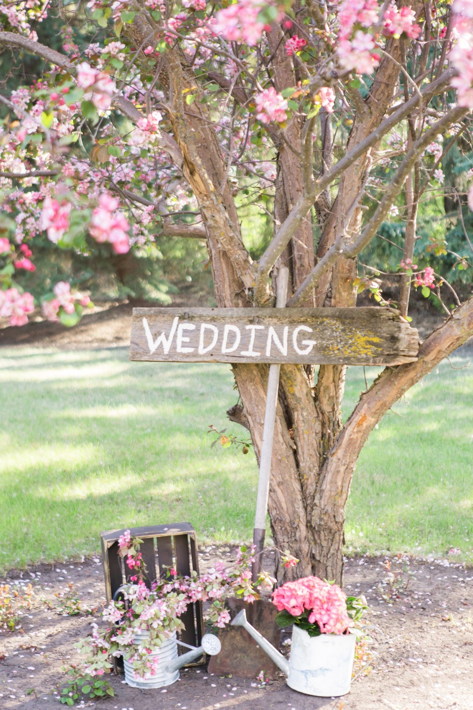 Rustic wedding shovel sign