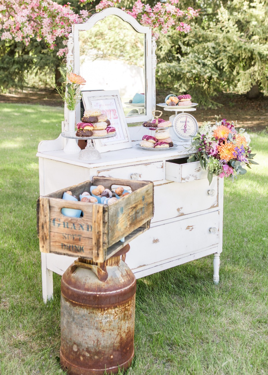 Vintage dresses cake and donut table