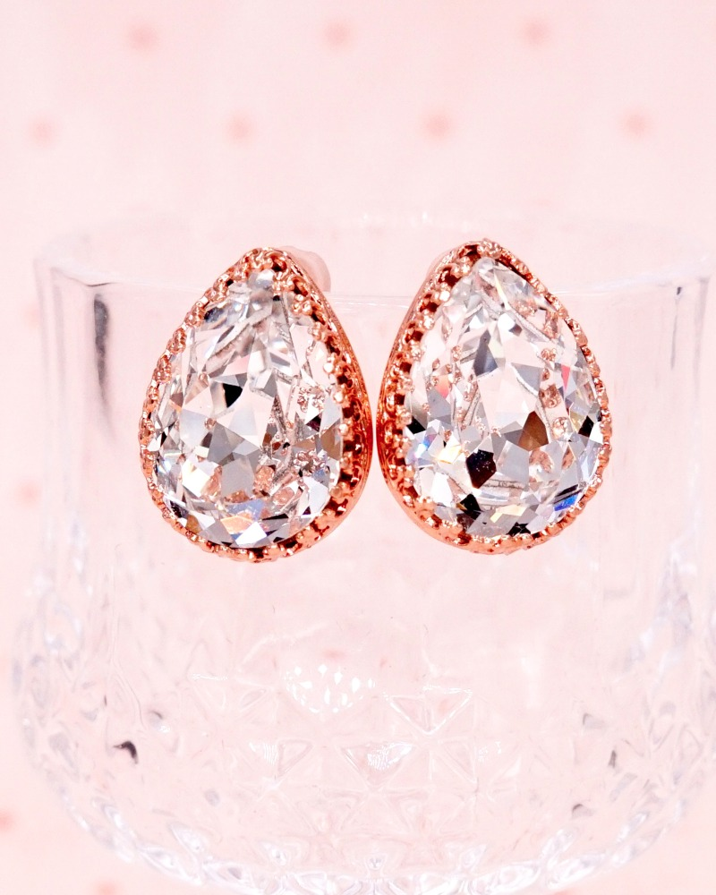 Rose Gold Teardrop Ear Studs, Swarovski Crystals, Brides, Bridesmaids, bridal shower gifts, wedding jewelry, www.glitzandlove.com