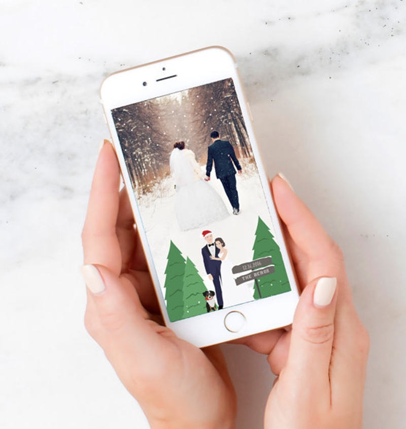 Miss Design Berry's listing is for a Christmas Wedding Snapchat geotag filter for your winter wedding or event with a custom couple