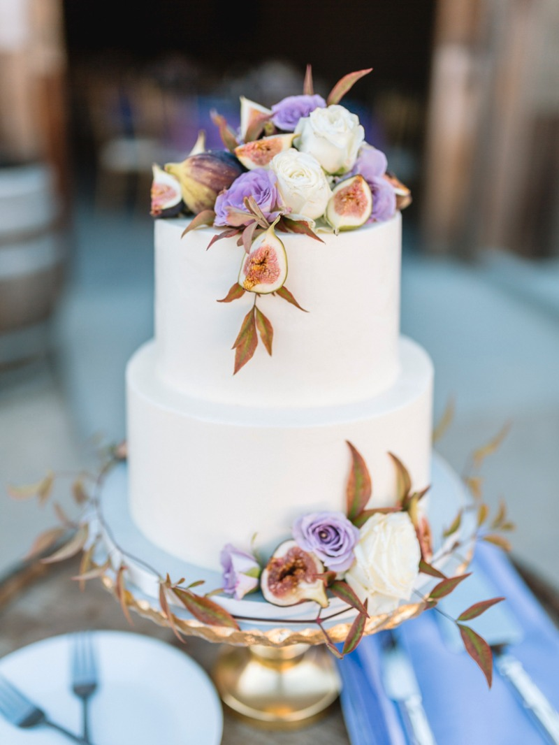 Gorgeous, fig and purple rose adorned wedding cake for an Indian Wedding at Greengate Ranch, San Luis Obispo.