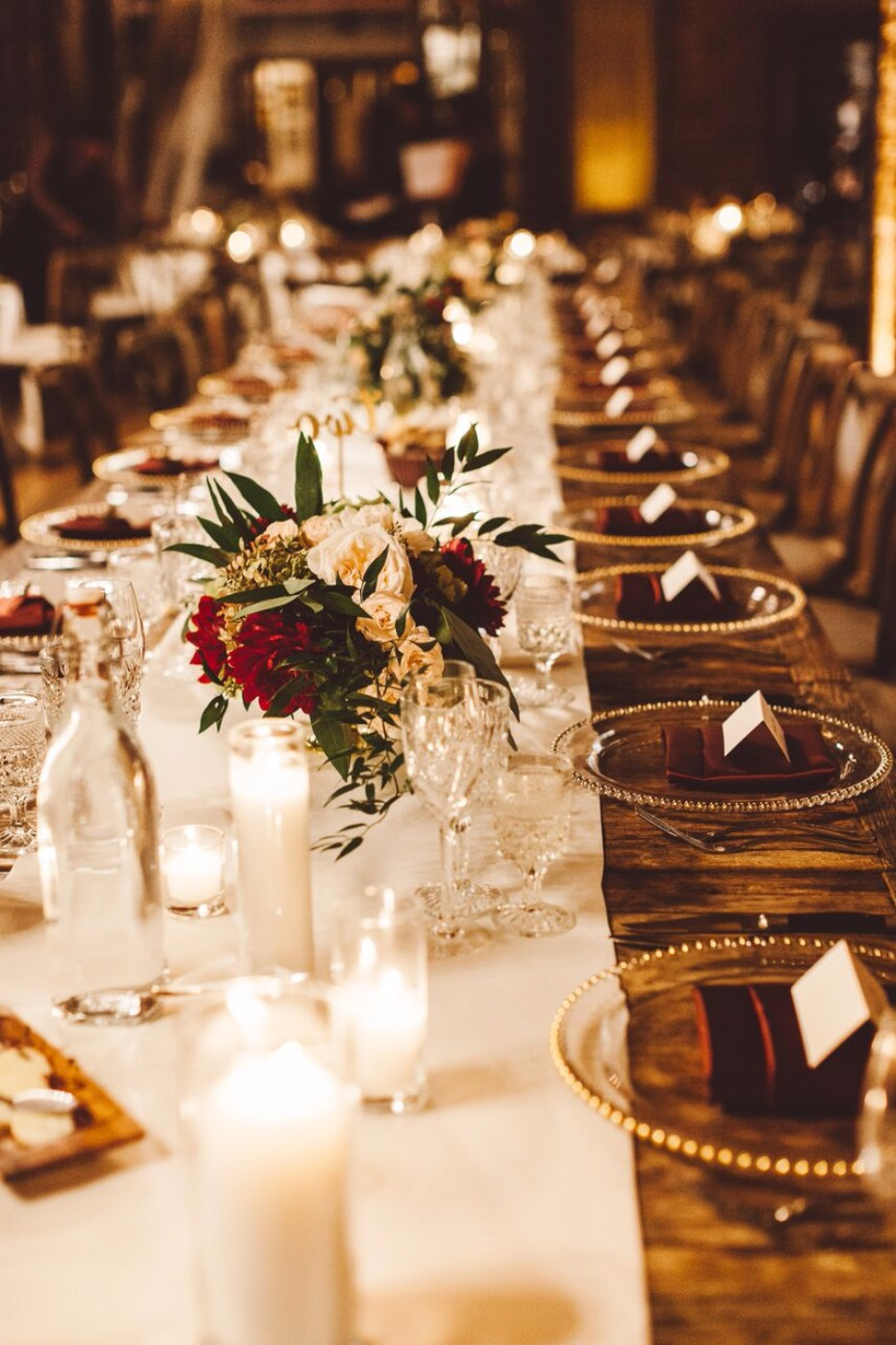 long elegant family style wedding table