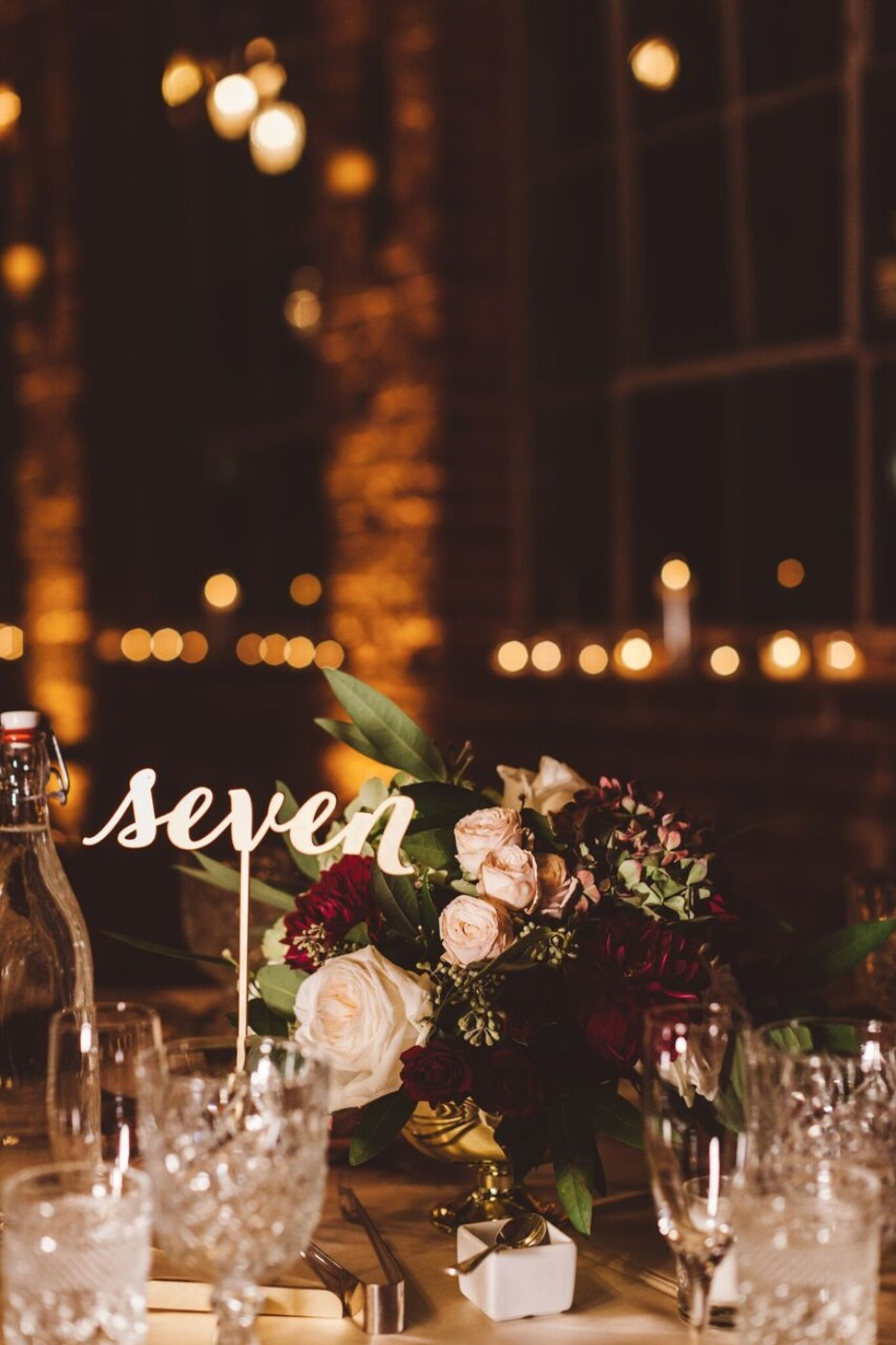 wedding table number in gold