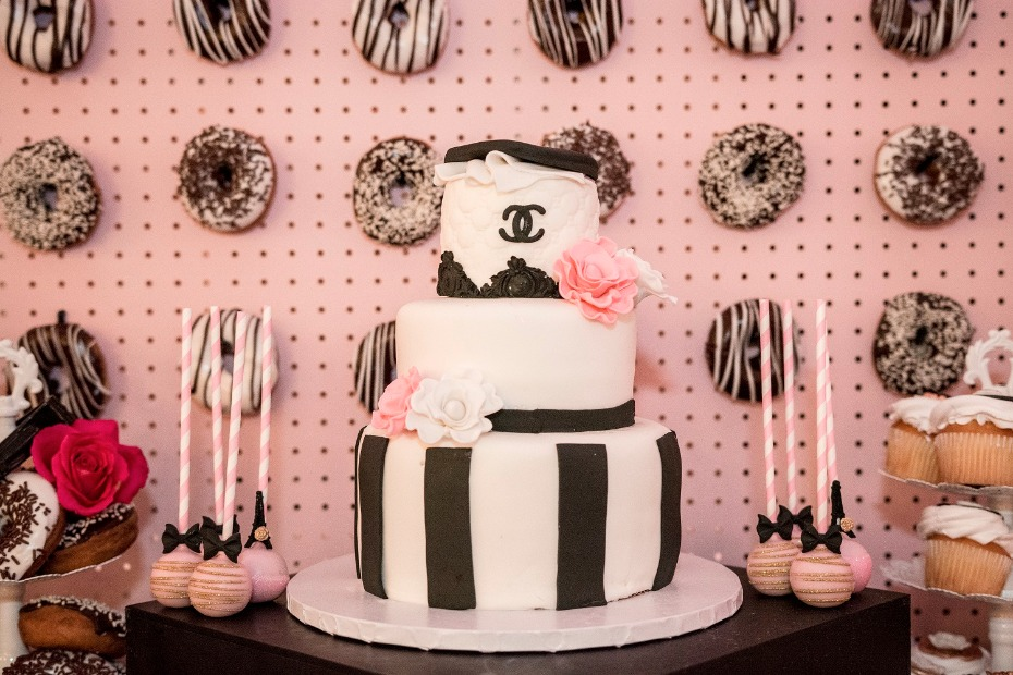Chanel bridal shower cake and donut wall