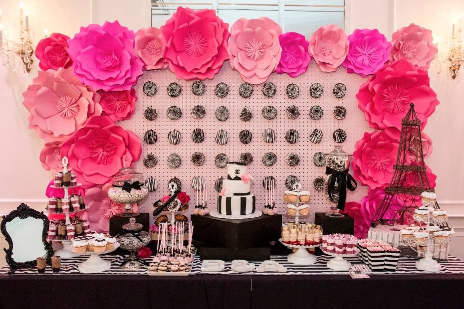 Ultimate dessert table for a Chanel bridal shower