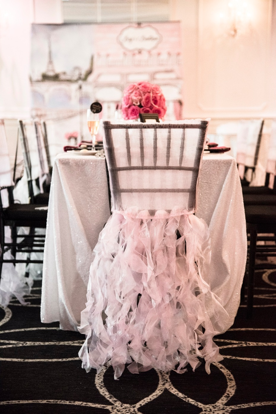 pink frilly chair skirt