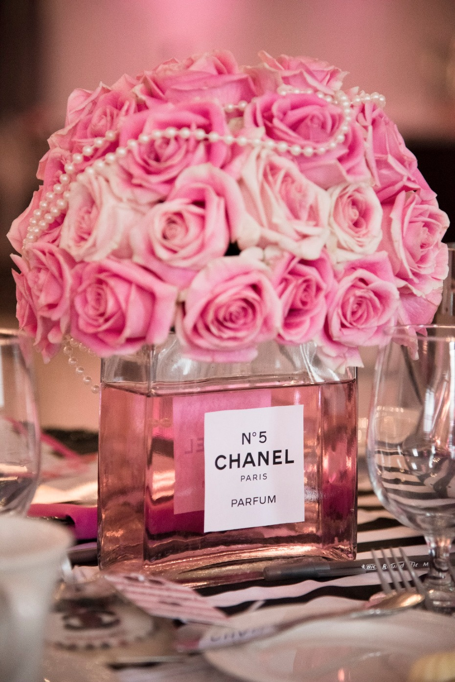 chanel you later  a perfume themed bridal shower in hot pink