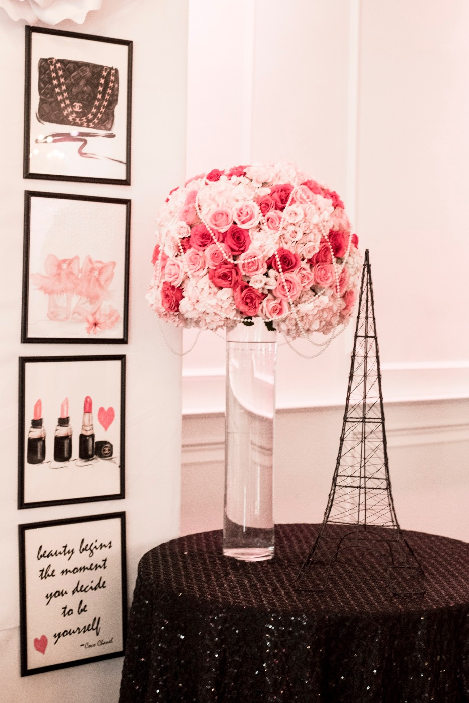 Hot pink details at this Chanel Paris bridal shower