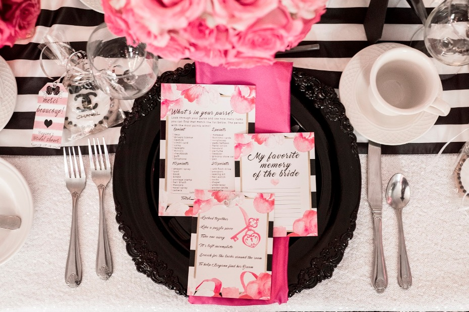 Black white and pink table decor