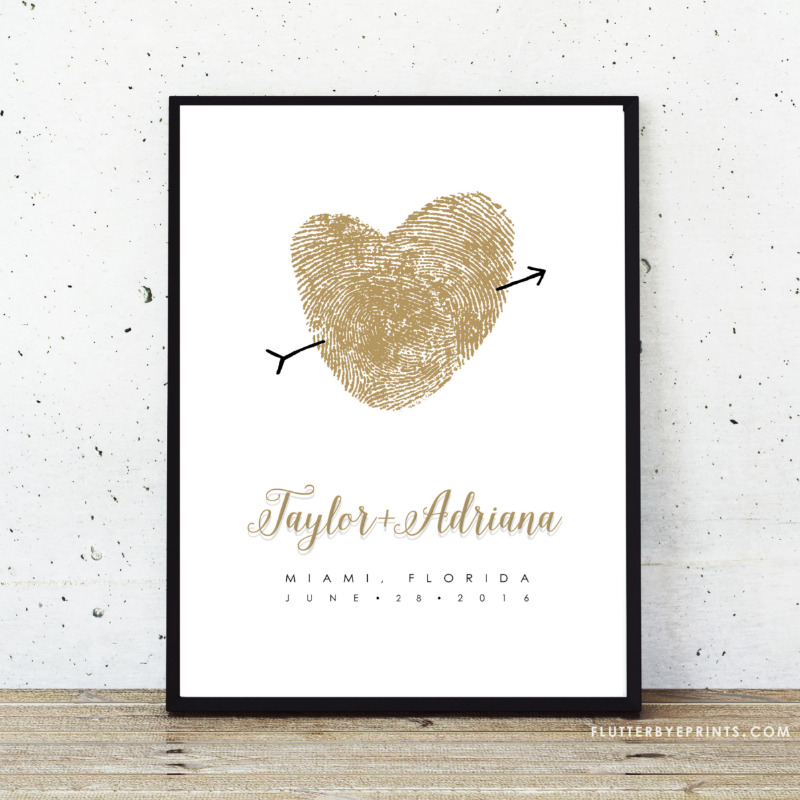 Wedding guest book poster and personalized keepsake made with your own fingerprints!