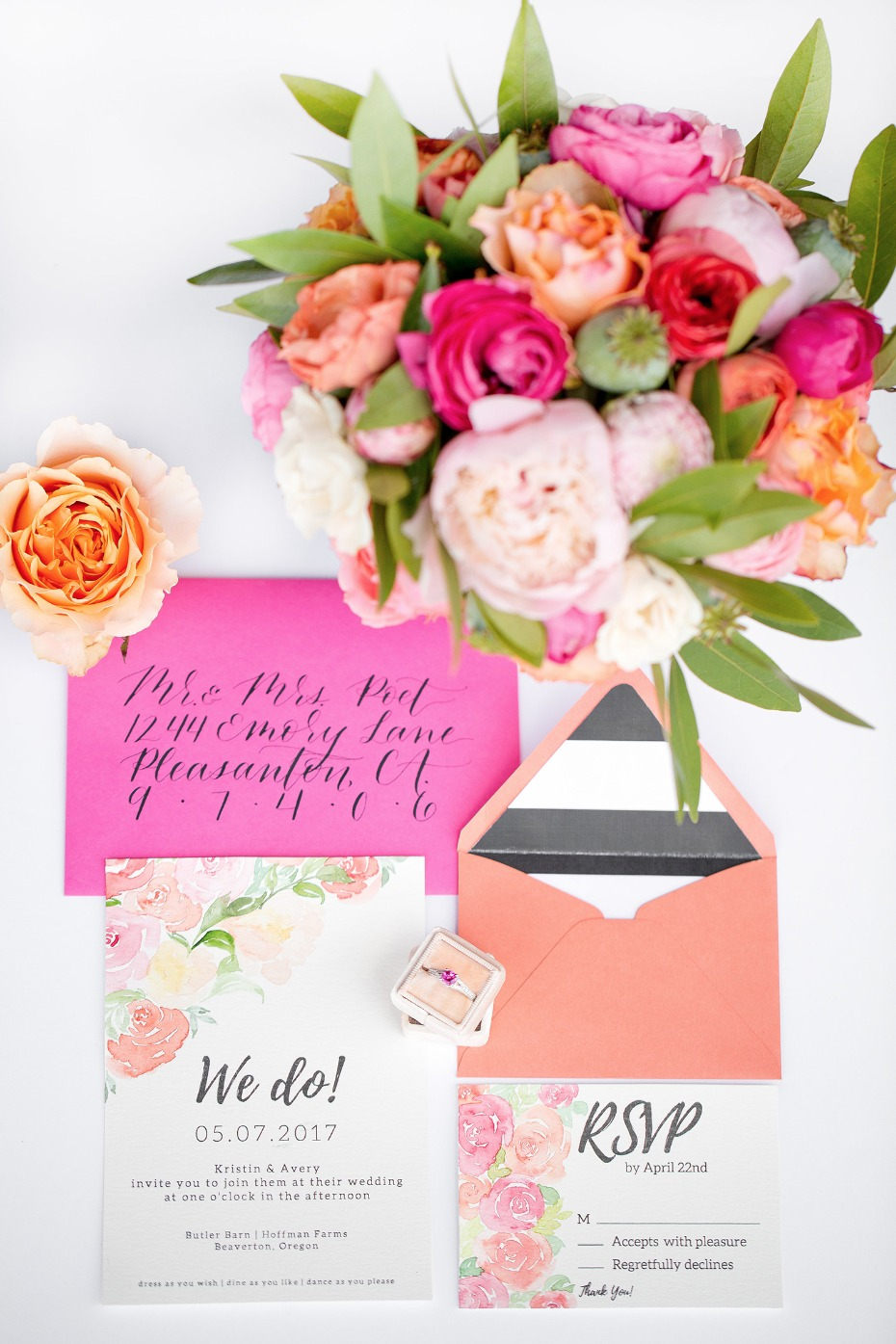 Colorful floral invitation suite