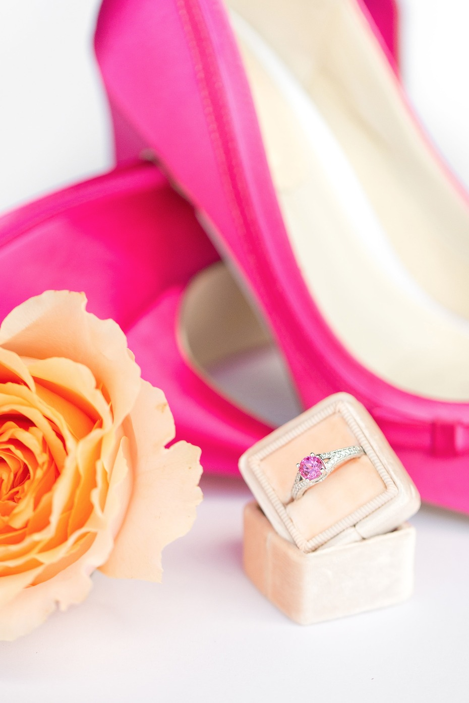 Hot pink shoes and engagement ring