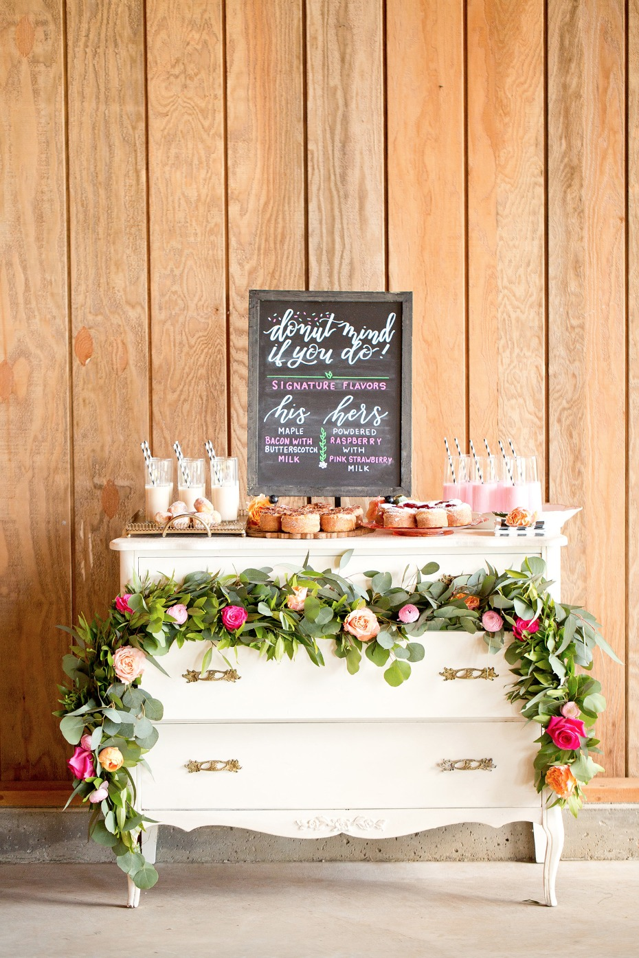 Donuts and milk dessert table