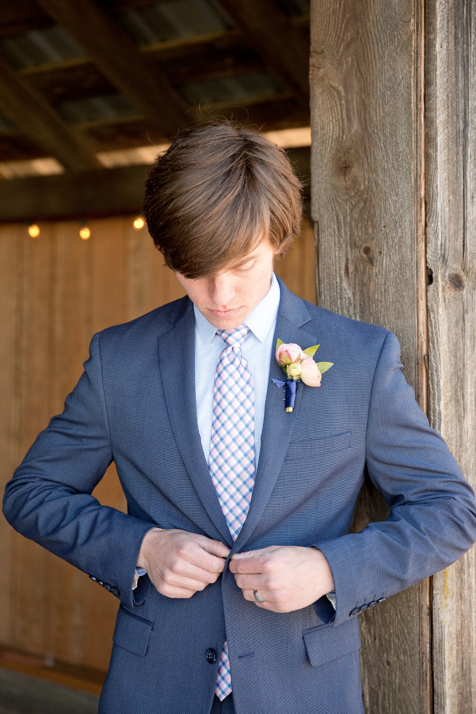 Blue suit for the groom