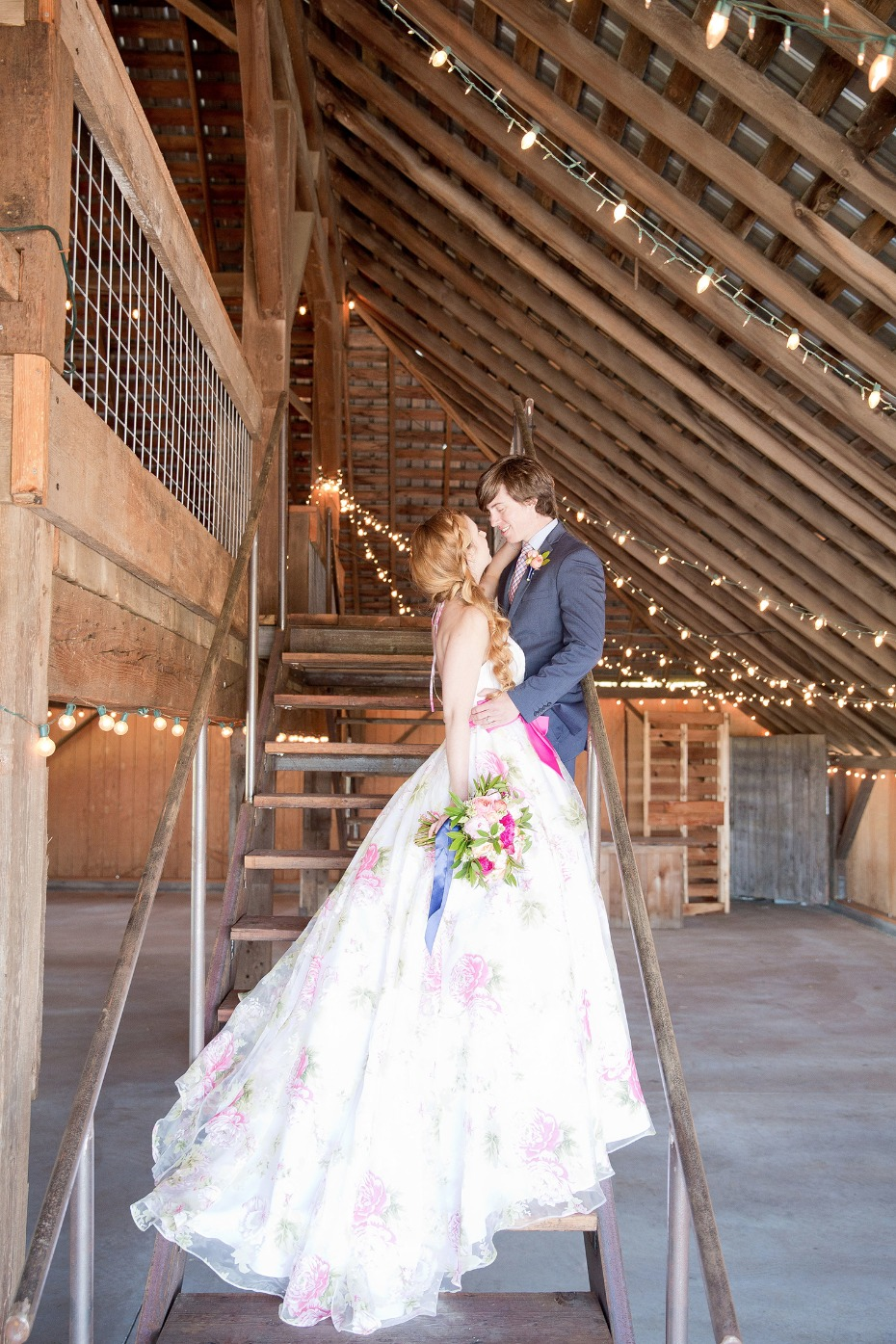 Floral wedding dress with pink bow