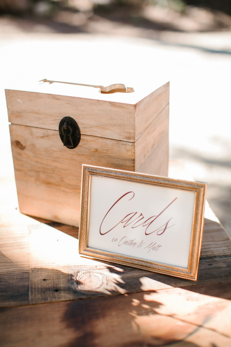 card box at your wedding welcome table