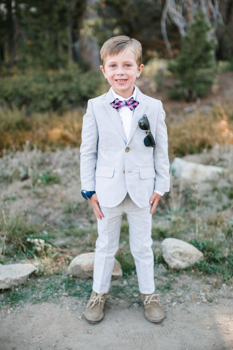 light grey fitted ring bearer suit