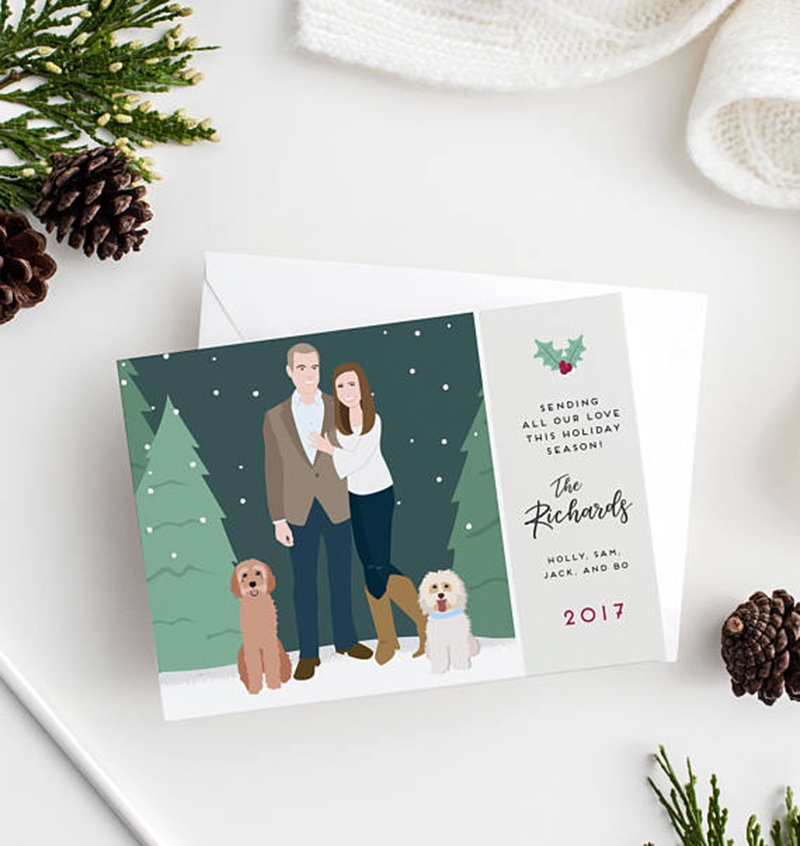 Miss Design Berry's fun Christmas or Holiday Card design features a custom couple portrait, perfect for newlyweds or newly engaged