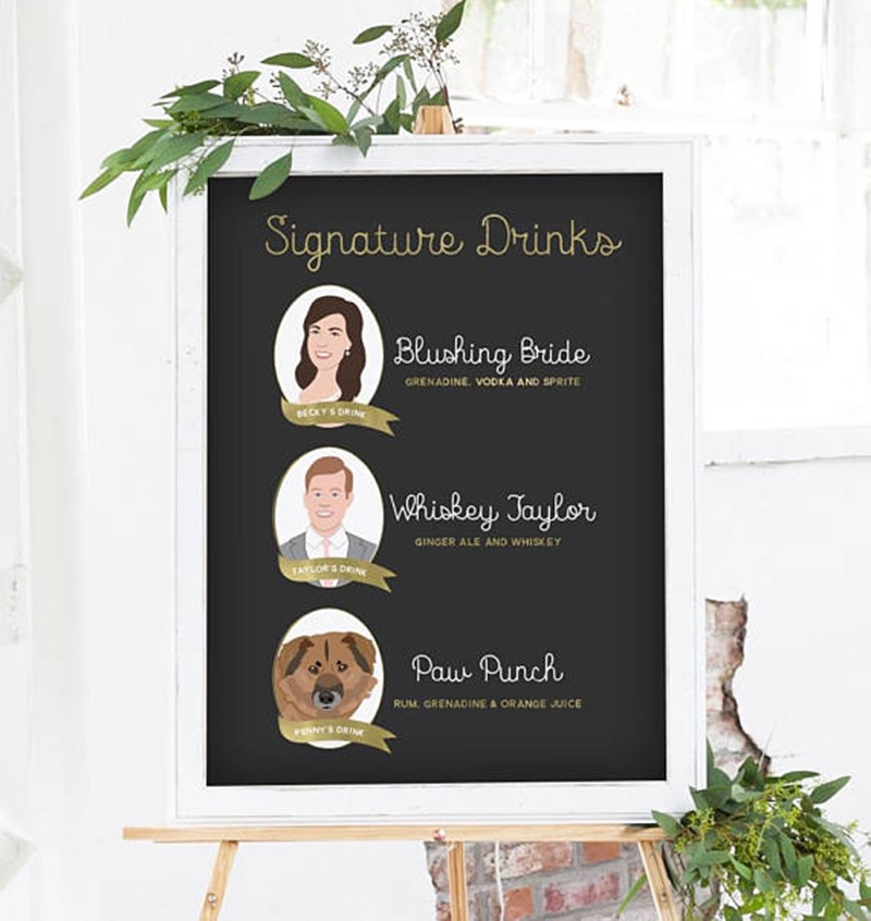 Miss Design Berry's signature cocktail sign features custom illustrations of 3 people or pets, along with details of your signature