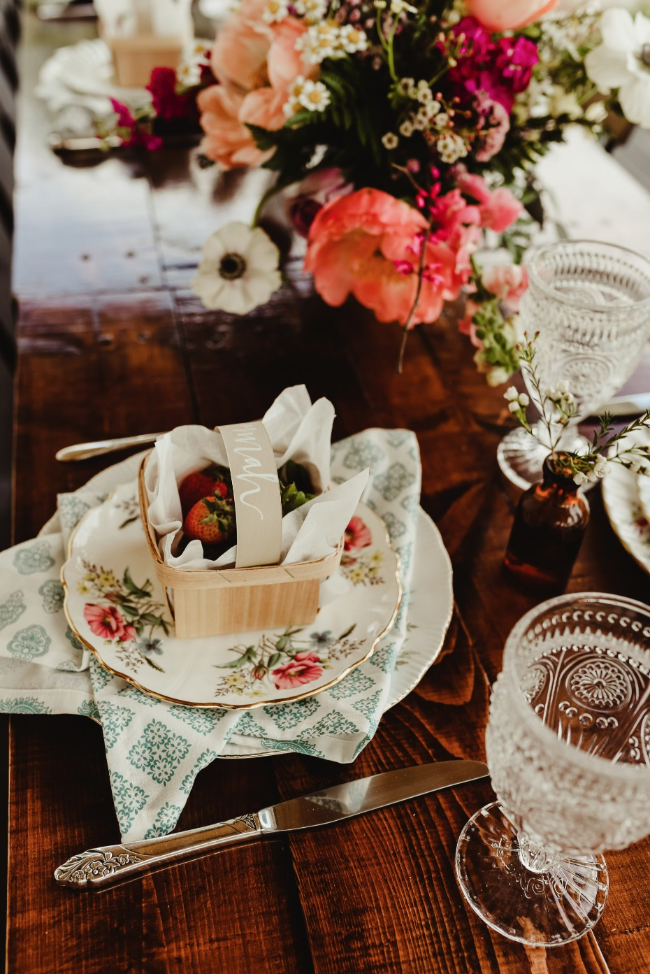 farm fresh shabby chic table setting