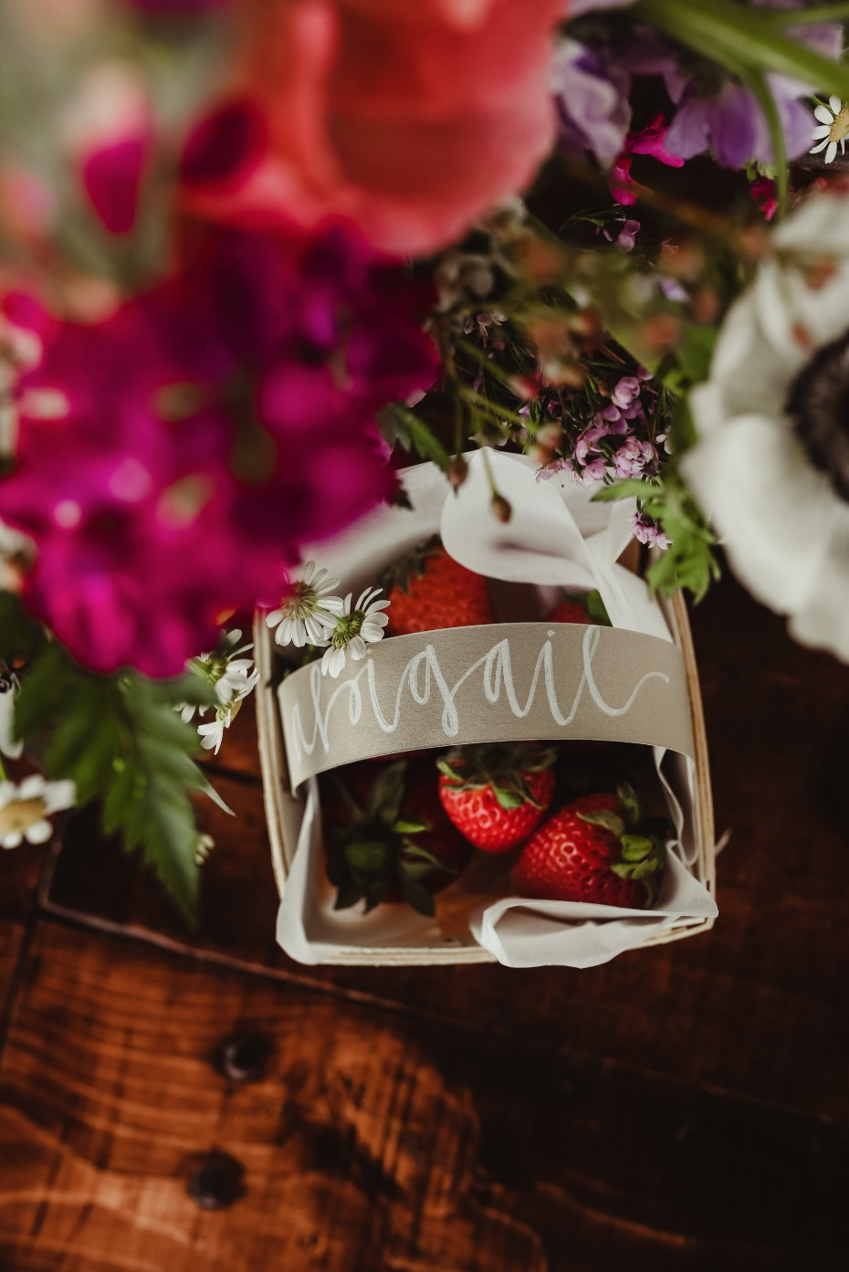 strawberry basket name card