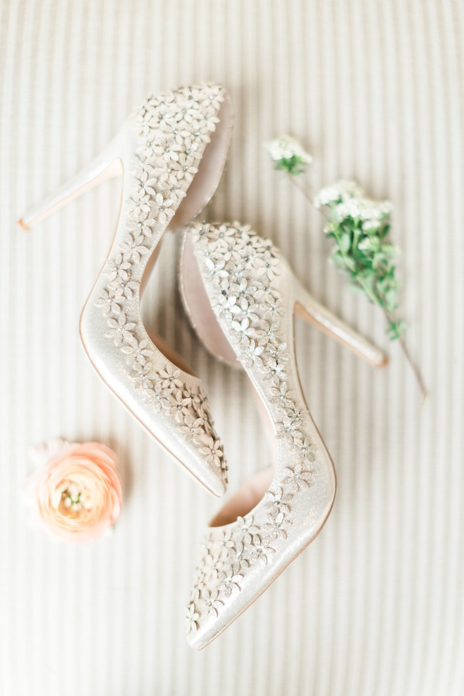 flower accented wedding shoes